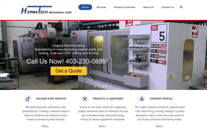 Herma-Tech-Industrial Machine Shop Website