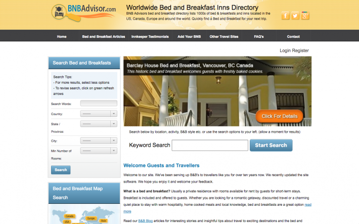 BNBadvisor.com Global Bed and Breakfast Directory